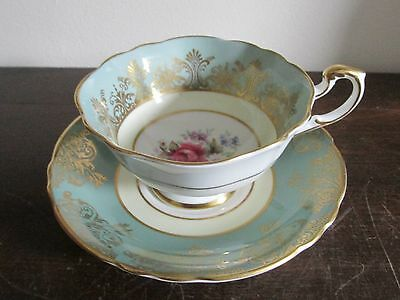 Vintage Paragon England Handpainted Tea Cup And Saucer Light Green Flowers Rose