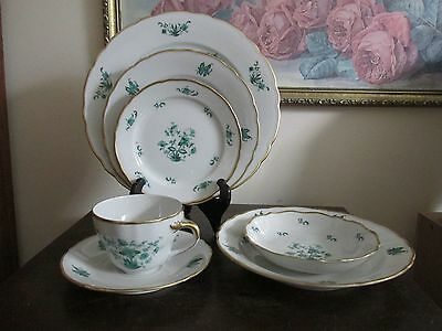 "Vintage Bavaria Germany "" BAREUTHER "" Green Flower 7 Piece Place Setting(s)"