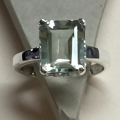 Natural Emerald Cut 4ct Green Amethyst 925 Solid Sterling Silver Ring sz 6