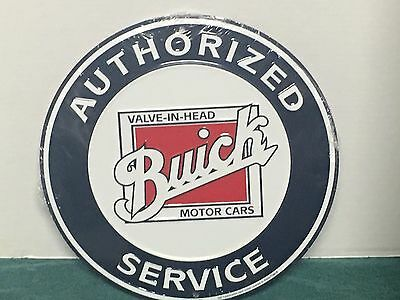 "BUICK embossed metal sign 12"" round authorized service Buick motor cars  s26"