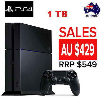Sony PlayStation PS4 1TB Console Black NEW AU Stock  12 months Warranty