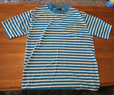 Vintage 1980s STRIPED POCKET T SHIRT Chesterfield BUTTER SOFT Tee LARGE Blue