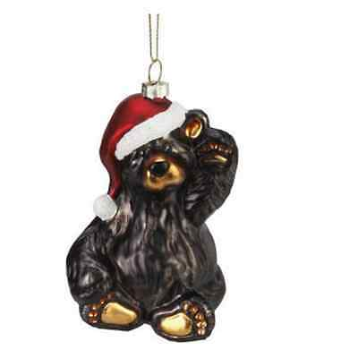 Bearfoots Friendly Santa Bear Glass Ornament by Jeff Fleming for Big Sky Carvers