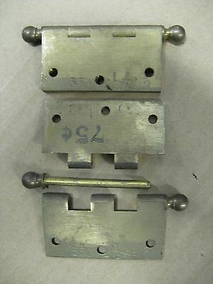"Set Of 3 VINTAGE SOLID BRASS HINGES 2""1/2 X 2""1/2 With REMOVABLE PIN NEW"