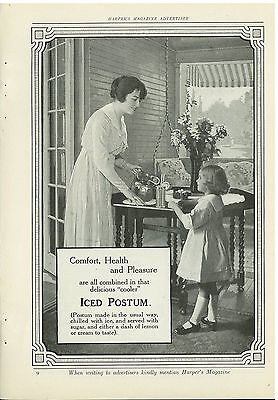 1917 Iced Postum - Full Page Original Print Ad - Mother Girl Pitcher