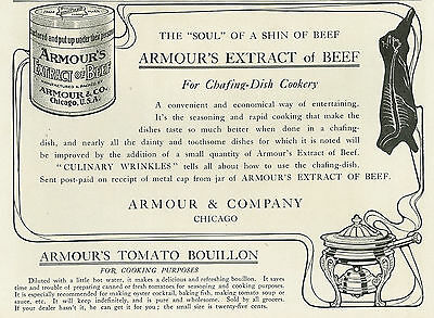 1904 Armours Extract of Beef Tomato Bouillon Vintage Original Print Ad