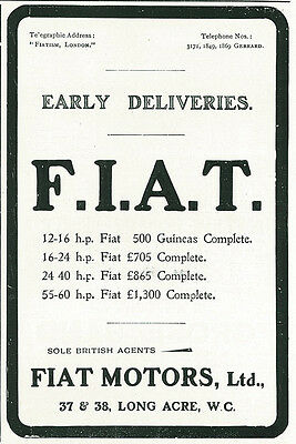 1906 Fiat Motors Ltd Original Print Ad