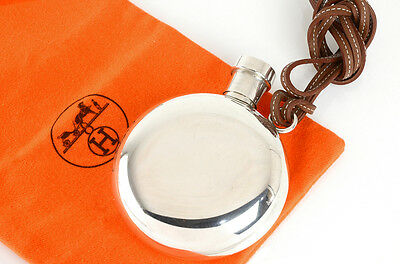 RARE! 3.9in height HERMES Sterling Silver 925 Flask  with leather strap