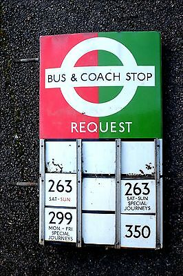 LONDON TRANSPORT BUS & COACH STOP GREEN & RED with 4 E-PLATES 263 (x2) 299 & 350