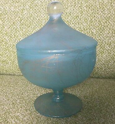 Vintage Blue Glass Footed Candy Compote Dish w/ Lid: Spaghetti Drizzle Pattern