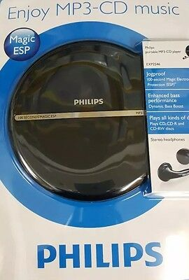 New Philips Portable Mp3/cd Player Exp2546 W/headphones Jogproof Lcd Display