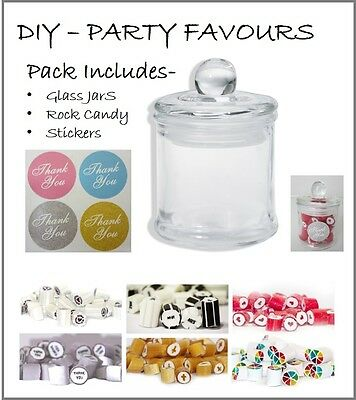 20 x Glass Jars with Rock Candy & Stickers Wedding Party Favour 100ml Small Jar