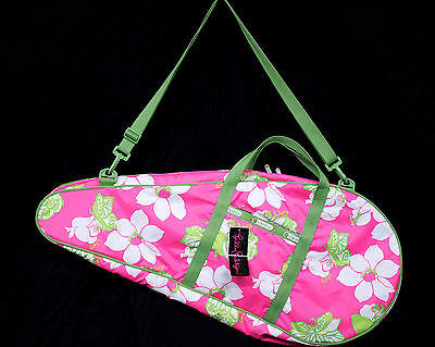 NWT LILLY PULITZER Le SportSac Shes A Piston Tennis Sleeve Pink Green Floral