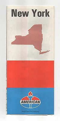 Vintage 1971 AMERICAN OIL CO Road Map of NEW YORK