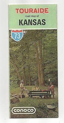 Vintage 1973 Conoco Touraide road map of Kansas