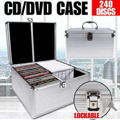 CD Storage Box DVD Case Aluminium Bluray Lockable Lock 240 Discs SL Holds Folder