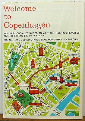 1970's Copenhagen Denmark Tuborg brewery vintage travel brochure city road map b