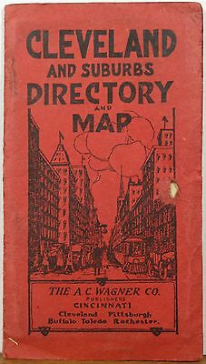 1920 Cleveland Ohio folding road map directory showing electric rail lines b