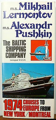 1974 Baltic Shipping Company New York Montreal Europe cruise brochure schedule b