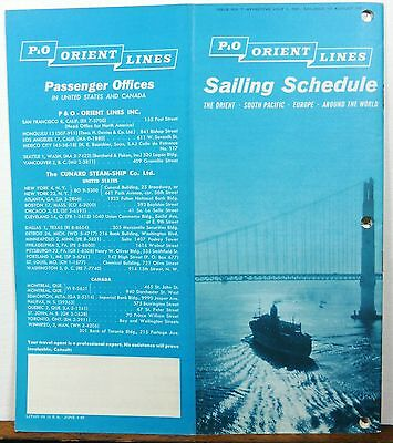1961 P&O Orient Lines South Pacific Europe sailing schedule & rates brochure b