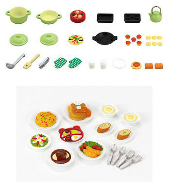 Two Sylvanian Families Sets - Food Theme - Cooking Set and Lunch Set