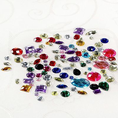 100Pcs Mixed Color Acrylic Flatback Sewing Rhinestone Assorted Shape Sew On Bead
