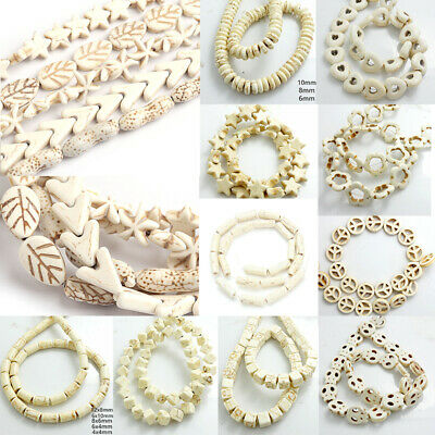 Wholesale White Turquoise Gemstone Strand Spacer Loose Beads 15'' Charm Findings