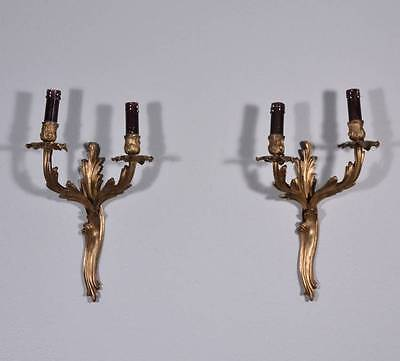 Pair of French Louis XV Antique Bronze Wall Sconces
