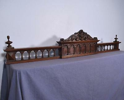 "62"" French Antique Pediment/Crest/Crown in Solid Walnut Wood"