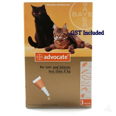 Advocate for small cat weighing 4kg or less 3 Packs Exp.11/2018