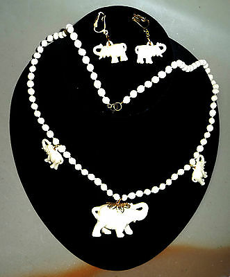Plastic Elephants,Earring and Necklace set