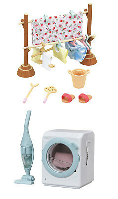 2 Sylvanian Families Sets - Clothesline and Washing Machine with Vacuum