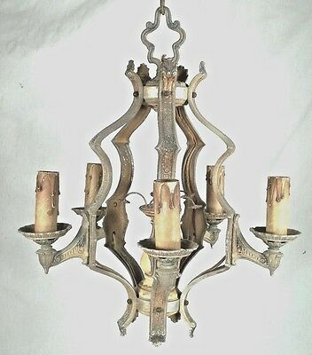 Stylish Antique Victorian Art Deco Art Nouveau 5 Arm Chandelier