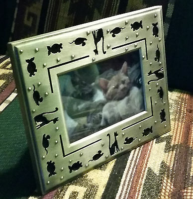 Pewter Cat Laser Cut Picture Frame 3.5x5""