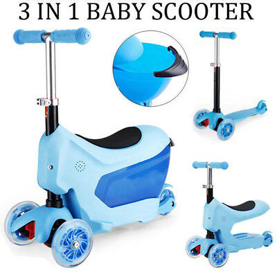 3 IN 1 Kids Children Toddler Ride On Toy Baby Walker Trike Tricycle Push Scooter