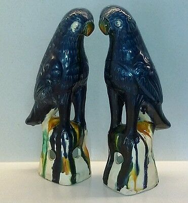 Wonderful Pair of Old Chinese Parrots - Large 26cm - Sancai Colours