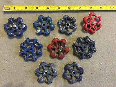 Lot Of 9 Vintage Light Metal Water Faucet Handles Knobs Valves Steampunk Lot #50