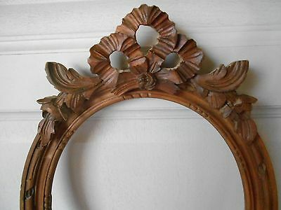 ANTIQUE French WOOD Carved  PEDIMENT RIBBON FRAME  LOUIS XVI style