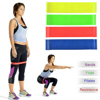 Fitness Stretch Therapy Strength Run Exercise Resistance Loop Bands Set of 4