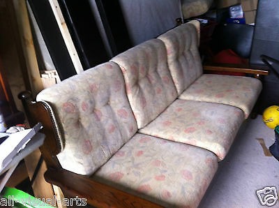 3 piece ercol style suite settee darkwood chair for dinning room or conservatory