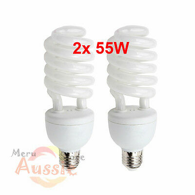 2x55W E27 Photography Light Bulbs Energy Saving Fluorescent Daylight Lamp 5500K