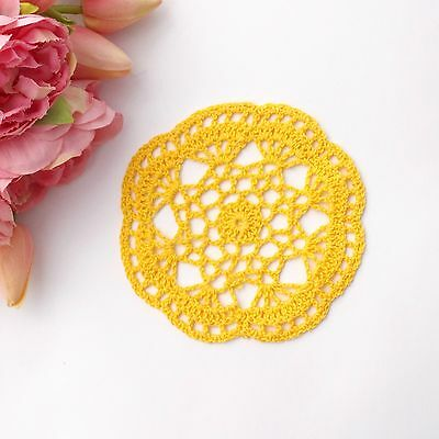 Crochet doily in yellow 14-15 cm for millinery , hair and crafts