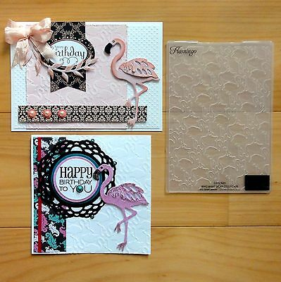 """COUTURE CREATIONS EMBOSSING FOLDER Flamingo Pink Birthday 5""""x7"""" REDUCED - BNIP"""