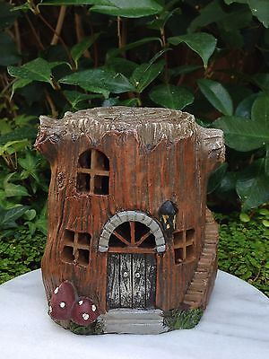 Miniature FAIRY GARDEN House ~ Small Tree Stump House Cottage with LED Light