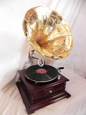 Christmas Sale Gramophone Phonograph Plain Brass Horn Sound Box With Needles