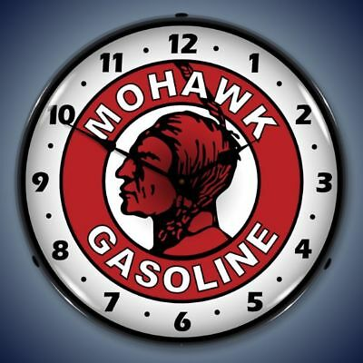 Mohawk Gasoline Led Lighted Wall Clock Vintage Style Advertising Man Cave - New