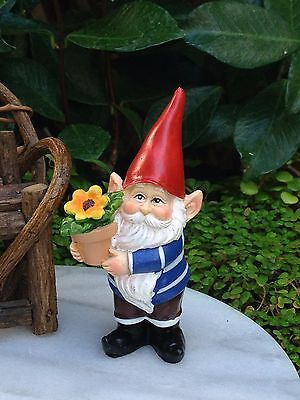 Miniature Dollhouse FAIRY GARDEN Accessories ~ Cheerful Gnome with Flowerpot