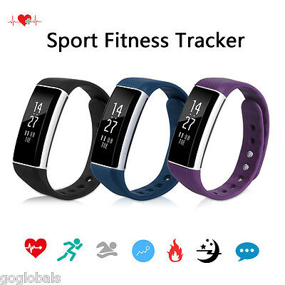 Bluetooth OLED Smart Watch Heart Rate Bracelet Wristband Android IOS Sports