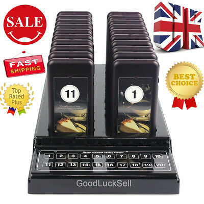 UK 20 Restaurant Coaster Pager Guest Call Wireless Paging Queuing Calling System