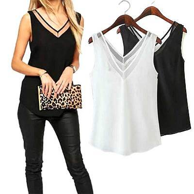 New Chiffon Slim Loose V-Neck Sleeveless Vest Shirt Blouse Tops For Women Girls